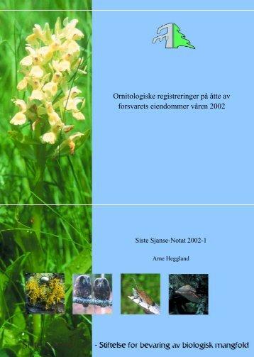 Ornitologiske registreringer på åtte av forsvarets eiendommer våren ...