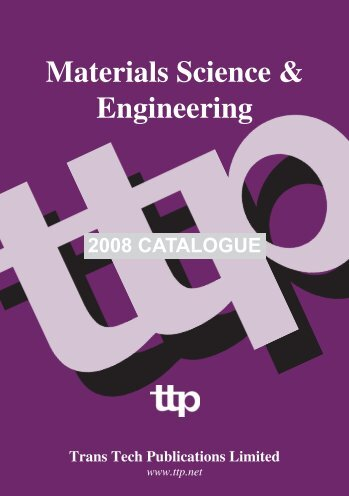 2008 CATALOGUE - Trans Tech Publications Inc.