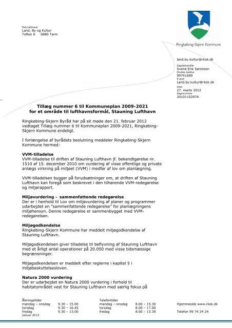 Tillæg nummer 6 til Kommuneplan 2009-2021 for et område til ...