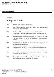 Presse-Information Dr. Jürgen Robert Geßler - Porsche Design