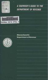 Massachusetts Depar#ment of Revenue