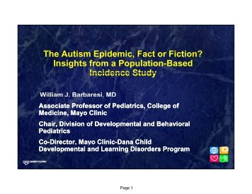 The Autism Epidemic, Fact or Fiction? Insights from a Population ...