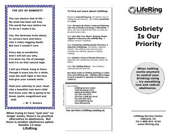 Sobriety Is Our Priority LifeRing