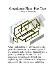Greenhouse Plans Part Two - The Geriatric Gourmet