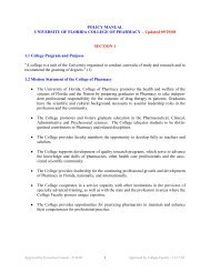 POLICY MANUAL - College of Pharmacy - University of Florida