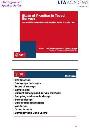 State of Practice in Travel Surveys - LTA Academy