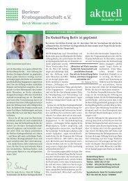 Newsletter der Berliner Krebsgesellschaft e.V. Dezember 2012