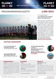ProGrammHiGHliGHts Juni 2013 - Planet