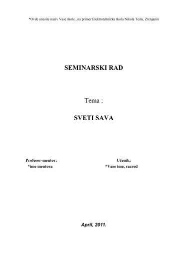 Sveti Sava - Seminarski Maturski Diplomski Radovi