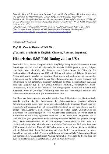 Historisches S&P Fehl-Rating zu den USA - EIIW