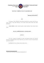 Selçuklu Tariri Kaynak ve Araştırmalar - GÜ SBE Elektronik Dergisi ...