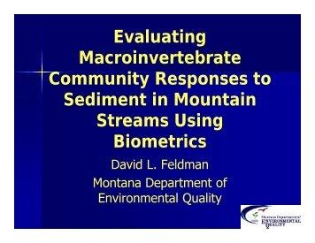 David Feldman. Evaluating Macroinvertebrate Responses To ...