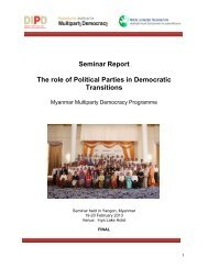 Seminar Report The role of Political Parties in Democratic Transitions