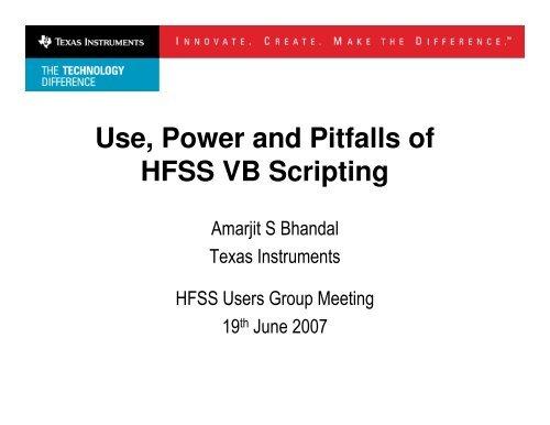 Use, Power and Pitfalls of HFSS VB Scripting