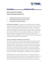 Press Release November 10, 2005 New Group Structure Adopted ...