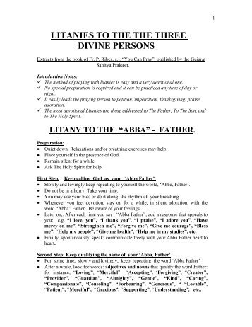 LITANIES TO THE THE THREE DIVINE PERSONS