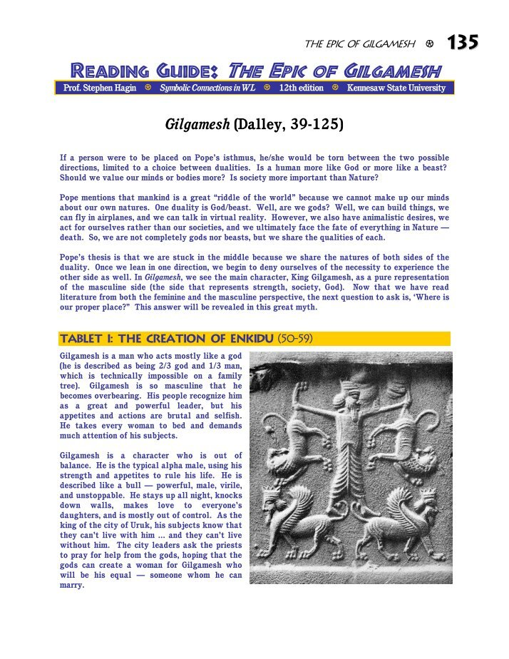 study guide for the epic of gilgamesh essay Gilgamesh flood essay gilgamesh: they are able to guide and help the male figures in their heroic quest the epic of gilgamesh religion 111 study.