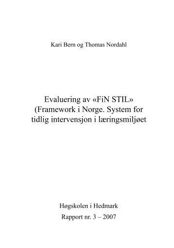 Evaluering av «FiN STIL» (Framework i Norge. System for tidlig ...