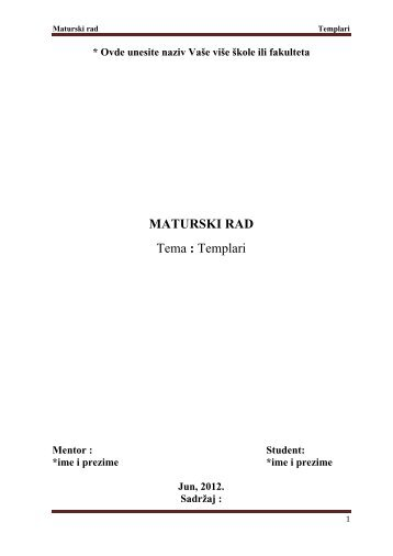 Templari - Seminarski Maturski Diplomski Radovi