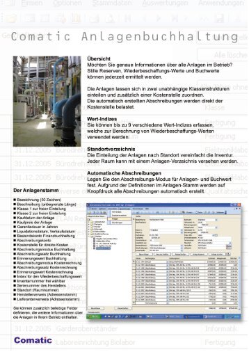 Page 1 Comatic Anlagenbuchhaltung übersieht lvlächten Sie ...
