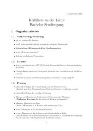 Kritkliste an der Lehre Bachelor Studiengang - StugA ...