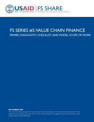 FS SERIES #5: ValuE CHaIn FInanCE - Economic Growth - usaid