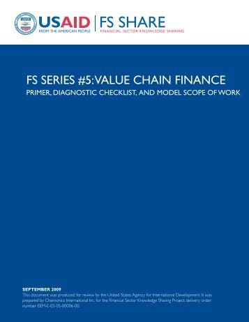 FS SERIES #5: ValuE CHaIn FInanCE - Economic Growth - usaid