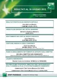 RISULTATI AL 30 GIUGNO 2012 - BNP Paribas