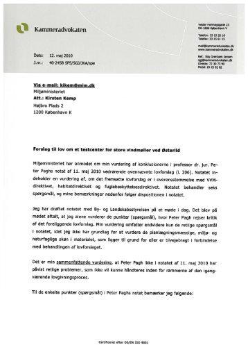 Kammeradvokatens notat af 12. maj 2010 - Naturstyrelsen