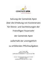 Satzung über die Erhebung von Kostenersatz für ... - Gemeinde Apen