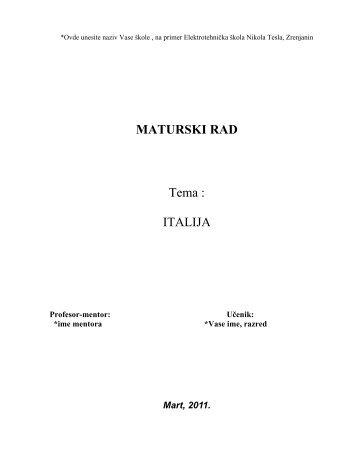 ITALIJA - Seminarski Maturski Diplomski Radovi