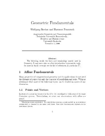 Geometric fundamentals - Applied Geometry & Computer Graphics