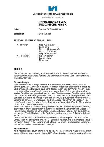 Jahresbericht der Abteilung für medizinische Physik