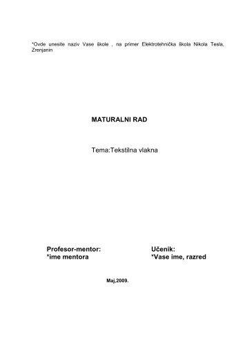 Tekstilna vlakna - Seminarski Maturski Diplomski Radovi