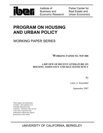 A Review of Recent Literature on Housing Assistance and Self ...