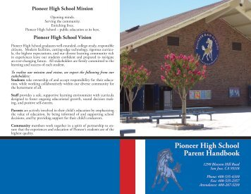 Pioneer High School Parent Handbook