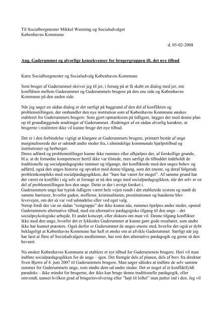 2008-02-05 Bruger af Gaderummet: Til Socialudvalget ang ...