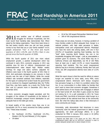 Food Hardship in America 2011 - Food Research and Action Center