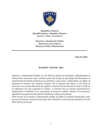 1 RAPORTI VJETOR – 2012 - Ministria e Administratës Publike