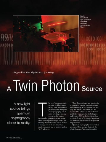 A Twin Photon Source Based on Optical Fiber - Physical ...