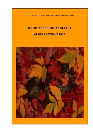 Årsberetning 2007 Hvidvasksekretariatet - Politi