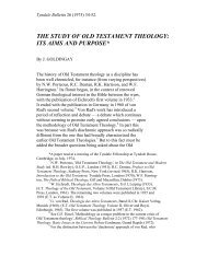 the study of old testament theology: its aims and ... - Tyndale House