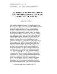 the synoptic problem revisited: some new ... - Tyndale House