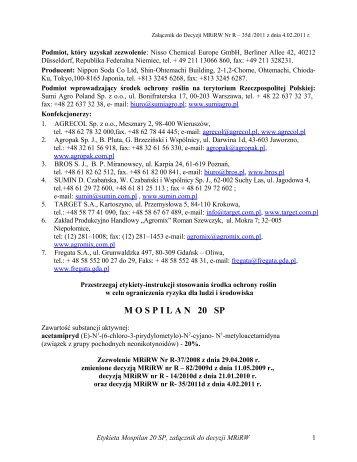 Mospilan 20 SP - Osadkowski SA