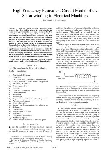 High Frequency Equivalent Circuit Model of the Stator winding in ...