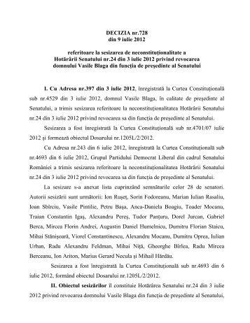 DECIZIA nr.728 din 9 iulie 2012 referitoare la sesizarea ... - TVR.RO