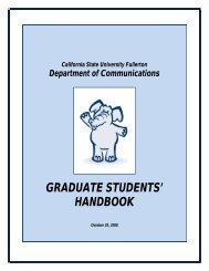 GRADUATE STUDENTS' HANDBOOK - College of Communications ...