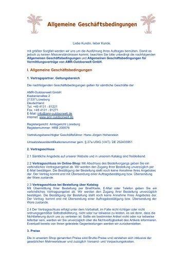 Allgemeine Geschäftsbedingungen - Amr-Outdoorwelt