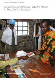 Democracy and Political Party Assistance in Post-Conflict Societies