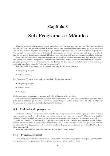Capítulo 8. Funções e Subrotinas - UFMG